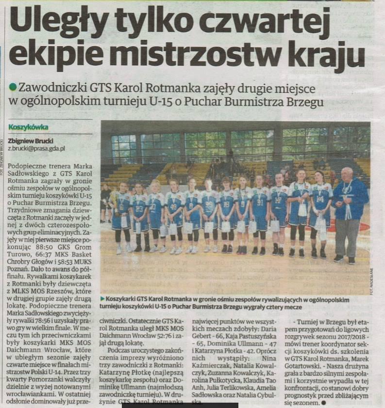 II miejsce naszych uczennic w ogólnopolskim turnieju koszykówki U-15 w Brzegu