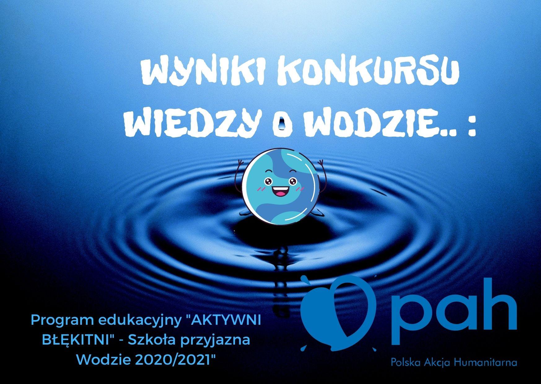 Wyniki konkursu wiedzy o wodzie.
