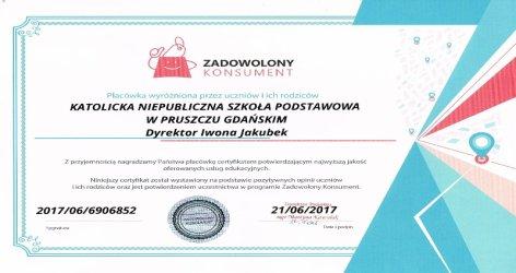 Otrzymaliśmy certyfikat - czerwiec 2017