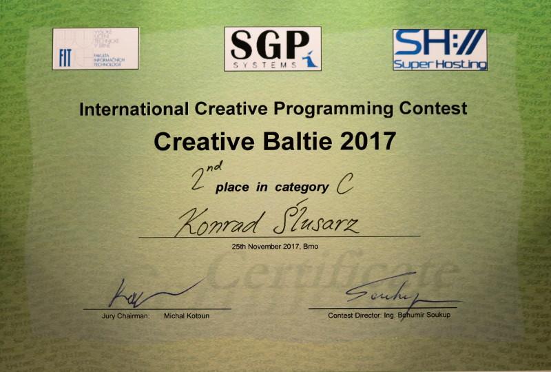 II miejsce Konrada Ślusarza w Międzynarodowym konkursie Creative Baltie 2017